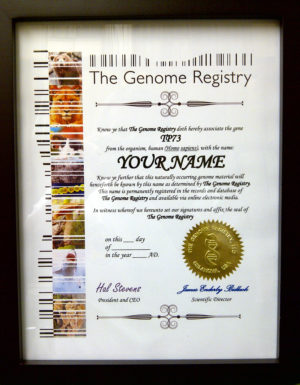 Genome Certificate with Seal Framed (9-6-2013)